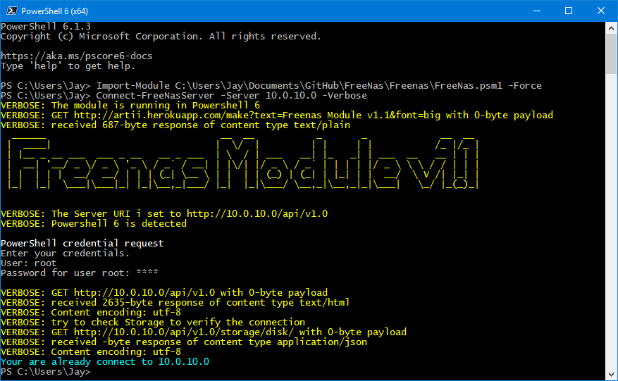 Powershell Module for FreeNas and TrueNas servers